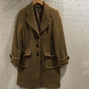 Worn once Static wool blend multicolor tweed coat.